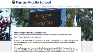 new student information system - Parras Middle School