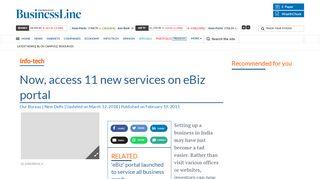 Now, access 11 new services on eBiz portal - The Hindu BusinessLine