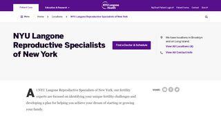 NYU Langone Reproductive Specialists of New York | NYU Langone ...