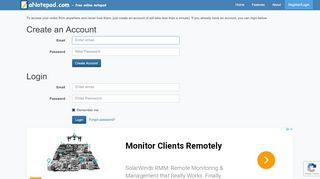 Online Notepad - Create Free Account - aNotepad.com