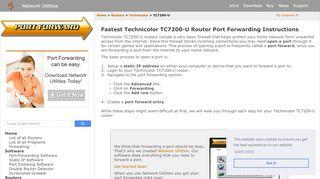 Open Ports on the Technicolor TC7200-U Router