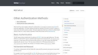 Other Authentication Methods   GitHub Developer Guide