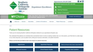 Patient Resources   Southern California Orthopedic Institute