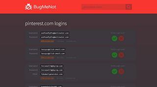 pinterest.com passwords - BugMeNot