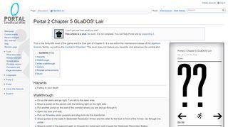 Portal 2 Chapter 5 GLaDOS' Lair - Portal Wiki