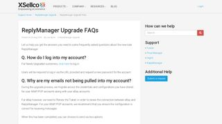 ReplyManager Upgrade FAQs - Xsellco Support
