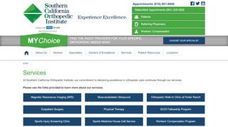 Services   Southern California Orthopedic Institute