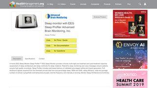 Sleep monitor with EEG Sleep Profiler Advanced Brain Monitoring, Inc.