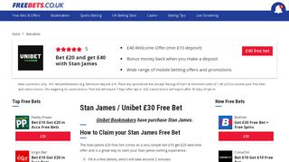 Stan James free bet £20 offer on sports   freebets.co.uk