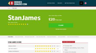 Stan James Sign Up Offer » £20 Free bet » £100 Casino ...