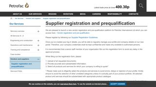 Supplier registration and prequalification - Petrofac