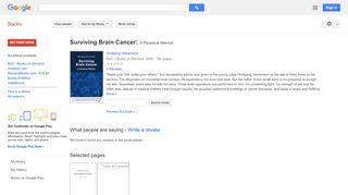 Surviving Brain Cancer: A Personal Memoir