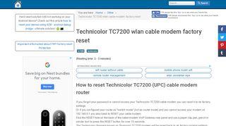 Technicolor TC7200 wlan cable modem factory reset