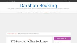 TTD Darshan Online Booking & TTD Online Registration