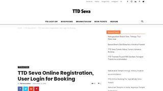 TTD Seva Online Registration, User Login for Booking