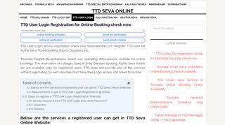 TTD User Login Registration for Online Booking check now