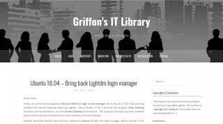 Ubuntu 18.04 – Bring back Lightdm login manager – Griffon's IT Library