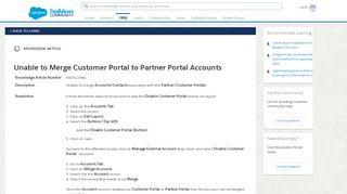 Unable to Merge Customer Portal to Partner Portal Accounts