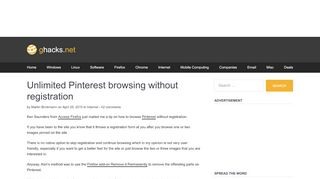 Unlimited Pinterest browsing without registration - gHacks ...