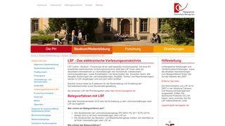 Vorlesungsverzeichnis (LSF) - PH Weingarten