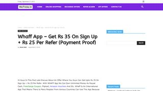 Whaff App – Get Rs 35 On Sign Up + Rs 25 Per …