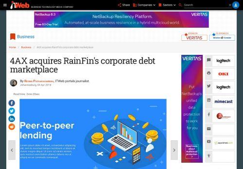 4AX acquires RainFin's corporate debt marketplace   ITWeb