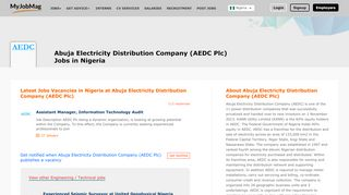 Abuja Electricity Distribution Company (AEDC Plc) Jobs and ...