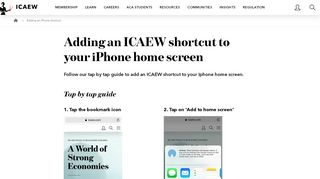 Adding a shortcut to your iPhone home screen   ICAEW