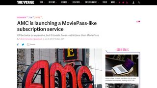 AMC is launching MoviePass-like subscription service with some great ...