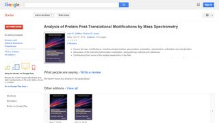 Analysis of Protein Post-Translational Modifications by Mass ...