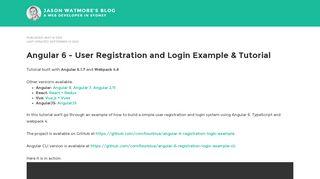 Angular 6 - User Registration and Login Example & Tutorial | Jason ...