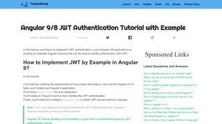 Angular 6|7: JWT Authentication Tutorial | Techiediaries