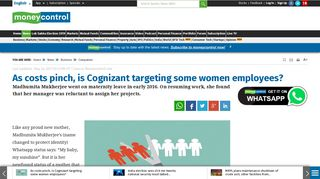 As costs pinch, is Cognizant targeting some women employees ...