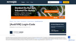 [Audi/VW] Login-Code - Start Forum Wissen Fahrzeugte... - Motor-Talk