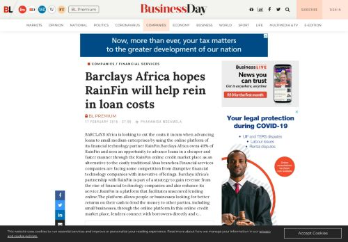 Barclays Africa hopes RainFin will help rein in loan costs - BusinessLIVE