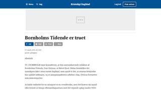 Bornholms Tidende er truet - Kristeligt Dagblad