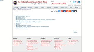 BoS Announcements - ICAI - The Institute of Chartered Accountants ...