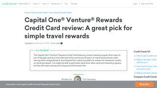 Capital One Venture Rewards Credit Card review   Credit ...