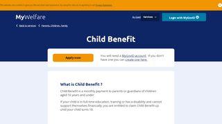 Child Benefit - MyWelfare
