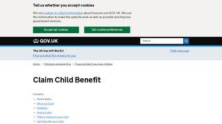 Claim Child Benefit - GOV.UK