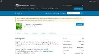 Custom Login Form | WordPress.org
