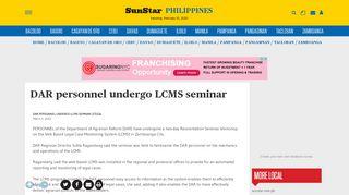 DAR personnel undergo LCMS seminar - SUNSTAR