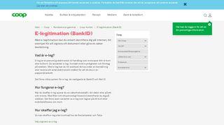 E-legitimation (BankID) - Coop