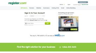 Email Log-in - Log in   Register.com, Inc.