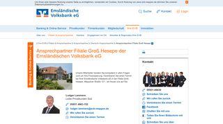 Emsländische Volksbank eG Ansprechpartner Filiale Groß Hesepe