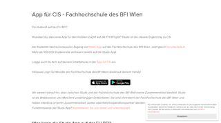 Fachhochschule des BFI Wien - CIS App - Studo