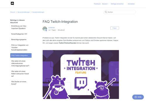FAQ Twitch-Integration – Discord