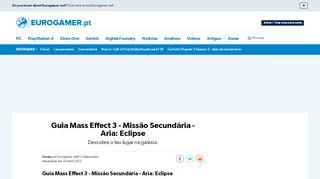 Guia Mass Effect 3 - Missão Secundária - Aria: Eclipse • Eurogamer.pt