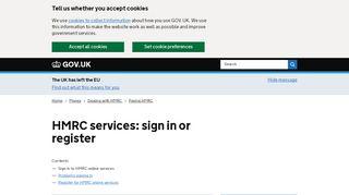 HMRC services: sign in or register - GOV.UK