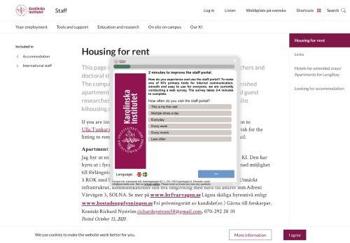 Housing for rent | Staff Portal | Karolinska Institutet